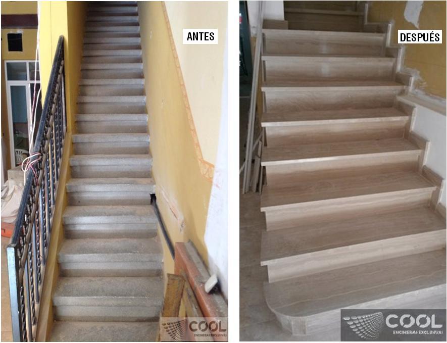 Revestimiento escalera en m rmol serpegiante antes y for Escaleras en marmol y granito